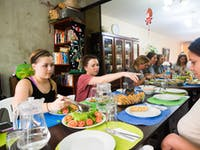 IVHQ volunteer dining in Lima