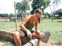 IVHQ volunteer abroad in the Philippines working in construction
