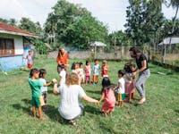 Volunteer in the Philippines working on the kindergarten project
