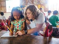 An IVHQ volunteer abroad in the Philippines working in kindergarten