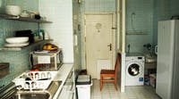 Communal kitchen in volunteer accommodation in Spain with IVHQ