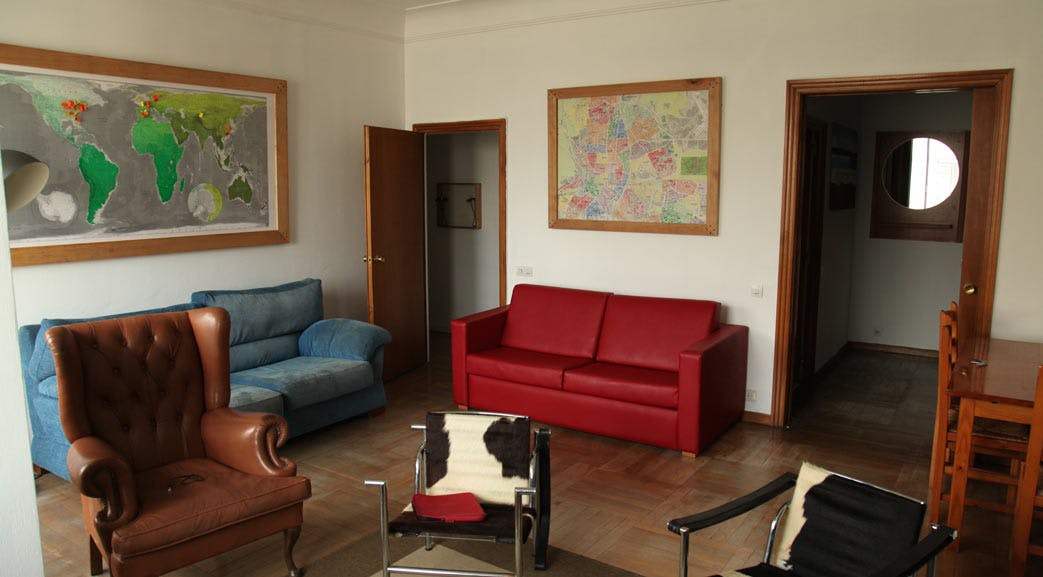 A look at the lounge room in the volunteer accommodation in Spain