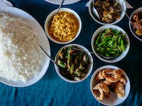Volunteer Lunch laid out with IVHQ in Sri Lanka