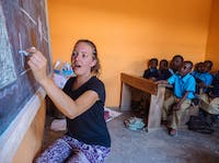 A teaching childcare volunteer in Tanzania