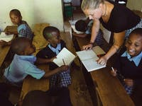 A teaching childcare volunteer in Tanzania