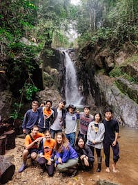 Group of IVHQ volunteers trek in Chiang Rai during an IVHQ weekend