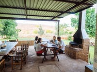 Volunteer eating area in Victoria Falls with IVHQ