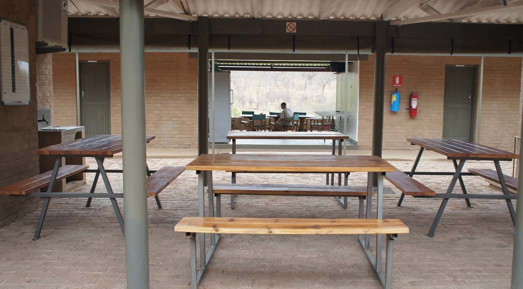 Communal dining area at the Victoria Falls volunteer accommodation