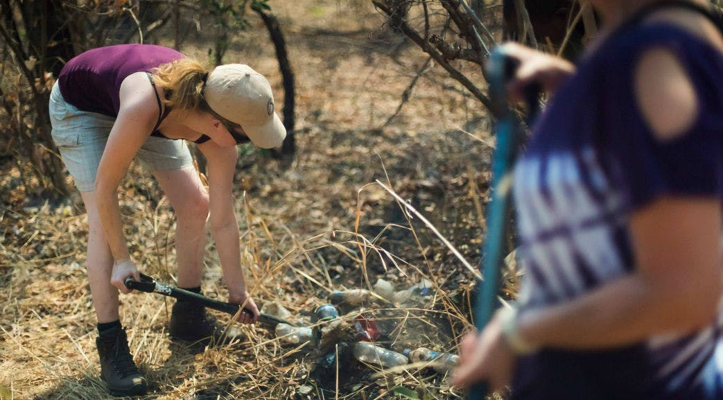 Volunteers cleaning up within Victoria Falls