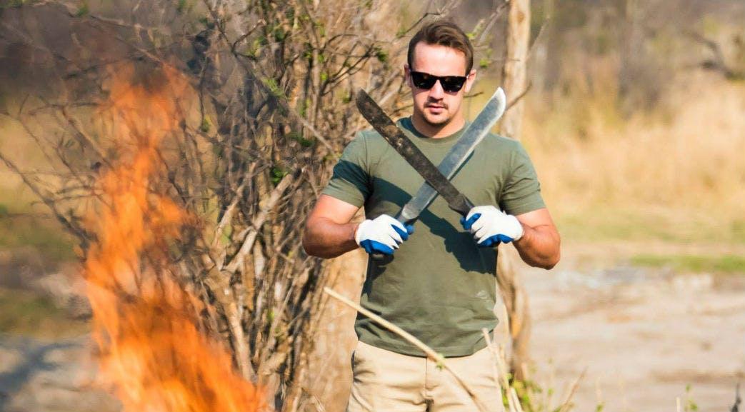 Burning bush scrub in Victoria Falls