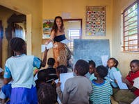 Teaching volunteers in Zambia with IVHQ