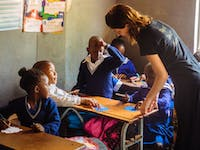Teaching volunteers working in Zambia with IVHQ