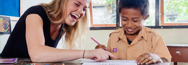 British volunteer overseas in Bali with International Volunteer HQ