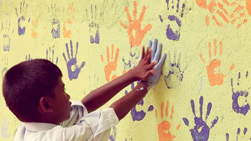 Childcare volunteer abroad activity ideas handpainting