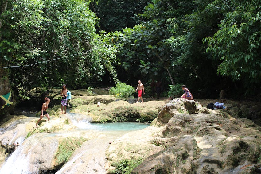 Visiting the Blue Hole Falls in Jamaica with IVHQ