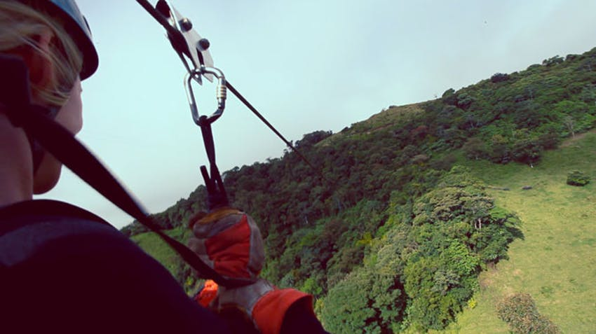 IVHQ volunteer in Costa Rica on a Zipline in Monteverde