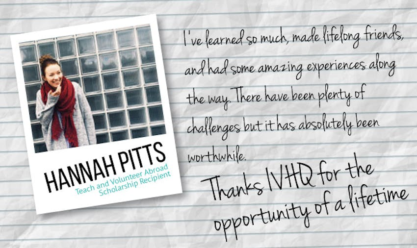 Teach and volunteer abroad scholarship recipient Hannah Pitts