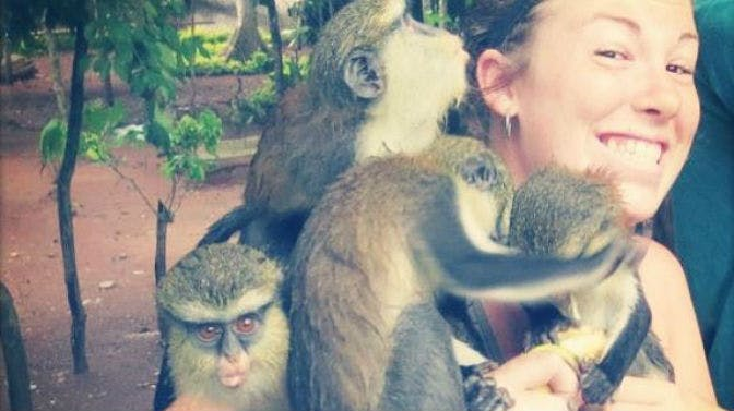 An IVHQ volunteer visiting the Tafi Atome Monkey Sanctuary during an IVHQ weekend in Ghana