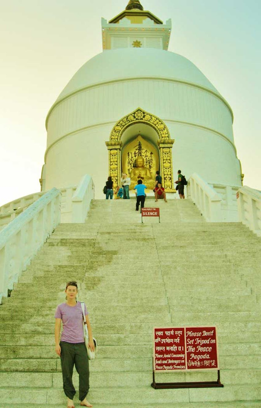 Visiting the World Peace Stupa as an IVHQ volunteer in Nepal