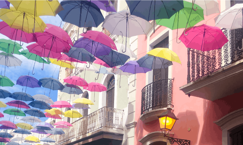 Activities in Puerto Rico - umbrellas line the streets in Old San Juan