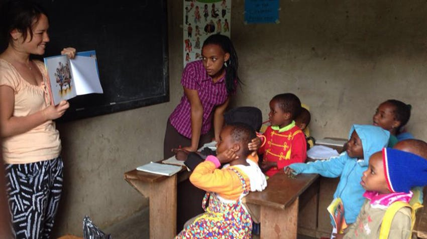 Teaching at Upendo Face Orphanage in Tanzania